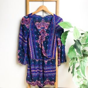 AEO   Boho Romper with Bell Sleeves Pockets